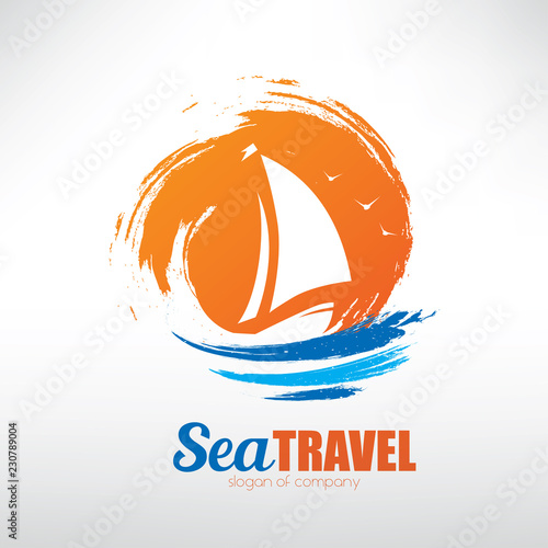 sail boat on seascape background, stylized vector symbol © lapencia