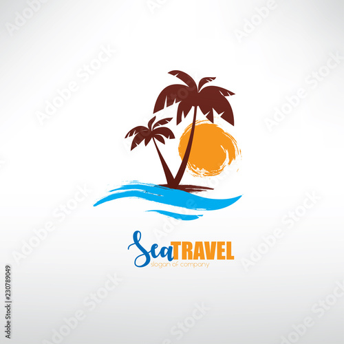 seascape with palm trees on island and ocean waves, stylized vector symbol