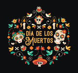 Day of the dead spanish language sugar skull card - 230789674