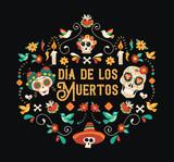 Day of the dead spanish language sugar skull card - 230789674