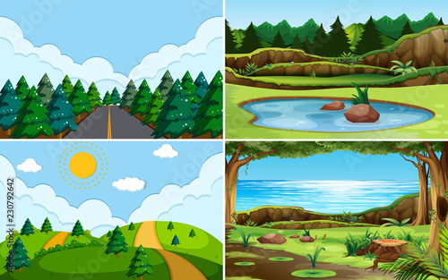 Wall mural Green nature view landscape