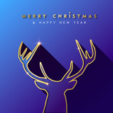 Christmas and new year gold deer greeting card - 230792835