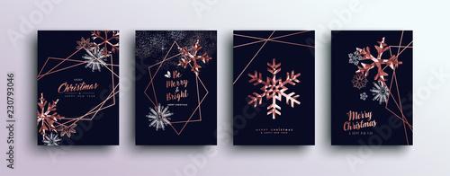 Wesołych Świąt różowy zestaw kart z pozdrowieniami miedzi