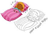 Doodle girl character sleeping - 230794233