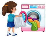 Young girl doing laundry - 230794269
