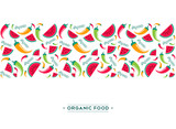 Organic food vegetable and fruit pattern background - 230794443