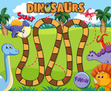Dinosaur board game template - 230794498