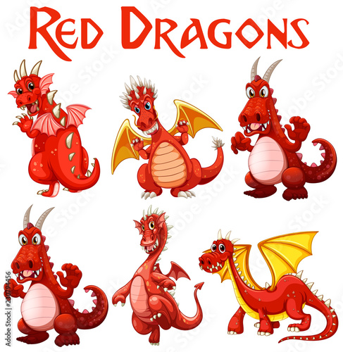 Set of red dragon character