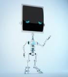 Unique silver slim bone robot with sad digital eyes. 3d render / Sad bone robot 3d illustration - 230794619
