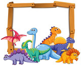 Different dinosaur on wooden frame - 230794626