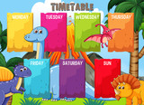 Timetable with colourful dinosaur template - 230794642