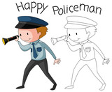 Doodle policeman character on white background - 230794671
