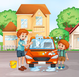 Father and boy washing car - 230794812