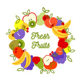 Fresh fruit illustration healthy eating background - 230795441