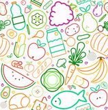 Healthy food seamless pattern of outline icons - 230797440
