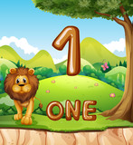 One lion in nature background - 230797825