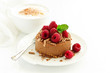 Delicious New York Chocolate Cheesecake with Raspberries. close-up. - 230798642