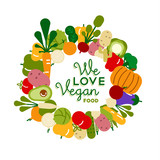 We love vegan food illustration for healthy diet - 230800218