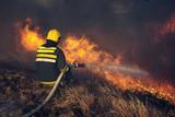 Firefighters battle a wildfire - 230800612