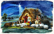 Leinwanddruck Bild - religious illustration three kings - and holy family - traditional scene with sheep and donkey - illustration for children