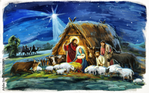 Leinwanddruck Bild religious illustration three kings - and holy family - traditional scene with sheep and donkey - illustration for children
