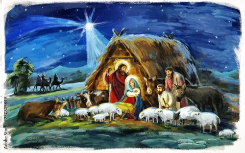 Leinwandbild Motiv religious illustration three kings - and holy family - traditional scene with sheep and donkey - illustration for children