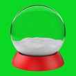 Leinwandbild Motiv Vector christmas snowglobe. Green background . Realistic traditional winter holiday decoration crystal with snow, snowflakes inside. Xmas magical toy, empty sphere, 3d rendering