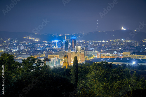 View of the city center at night in barcelona - 230816681
