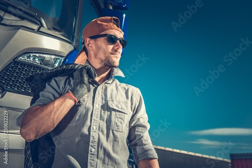 Wall mural Relaxed Truck Driver