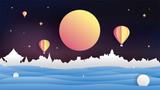 Loy kratong festival moon light