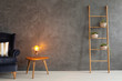 Modern lamp on elegant wooden table in simple and trendy interior with dark empty wall, real photo with copy space