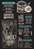 Burger menu food template for restaurant with doodle hand-drawn graphic. - 230830212
