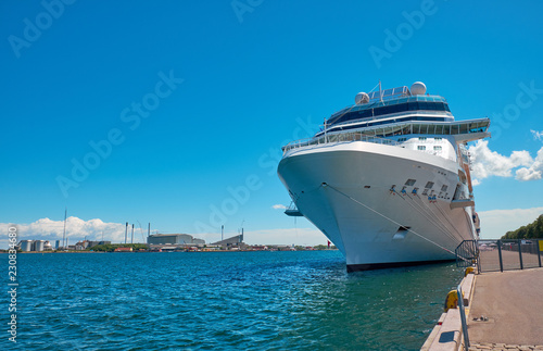 Leinwanddruck Bild cruise ship in the port of Copenhagen