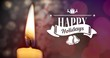 Happy holidays text with candle