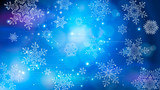 Fototapety Snowflakes and festive lights - vector background with beautiful snowflakes that merrily shine and shimmer in color space
