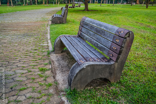 Old Style Stone Park Benches In A Beach In Pasir Ris Singapore Buy