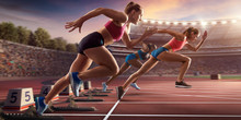 "Постер, картина, фотообои ""Female athletes sprinting. Three women in sport clothes run at the running track in professional stadium"""