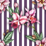 Seamless pattern with watercolor orchid flowers on a striped geometric background. - 230851408