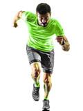 one caucasian man runner running jogging jogger silhouette isolated on white background - 230872022