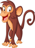 Cartoon cute monkey. Vector illustration of funny happy animal.