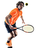 one caucasian hispanic tennis player man in studio silhouette isolated on white background - 230872285