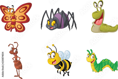 Group of cartoon insects. Vector illustration of funny happy small animals.   - 230874834