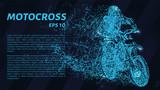 Motocross of blue glowing dots. Motorcyclist vector illustration. - 230875648