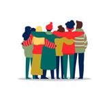 Young people friend group hug in winter season - 230880412