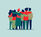 People friend group hug in winter holiday clothes - 230880414