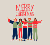 Christmas card of diverse people friend group hug - 230880444
