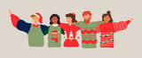 Diverse friend group banner for christmas party - 230880497