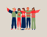 Christmas people friend group hug illustration - 230880499
