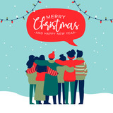 Christmas and New Year diverse people group card - 230880615