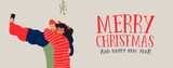 Christmas banner of couple selfie under mistletoe - 230880666